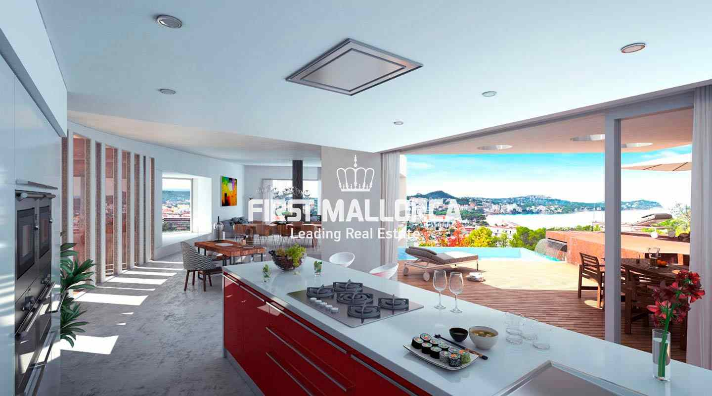 Modern new villa project in santa ponsa with spectacular sea and harbour view